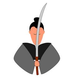 samurai with katana on white background vector image