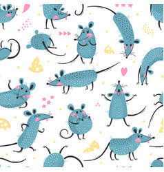 seamless pattern with cute rats funny little mice vector image
