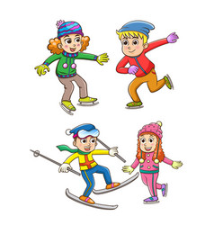 set children playing in winter vector image