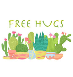 set of cactus with free hugs lettering vector image