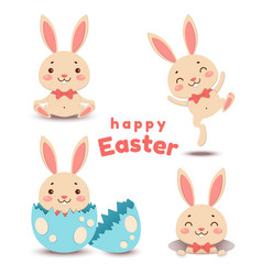 set of cute cartoon easter bunnys and egg vector image