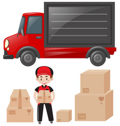 set of mailman and delivery service vector image