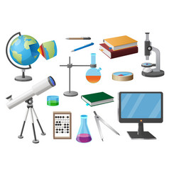 Set of various school objects cartoon vector