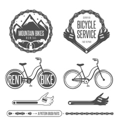 Set of vintage bicycle badges and design elements vector image