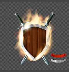 Shield with swords and ribbon vector
