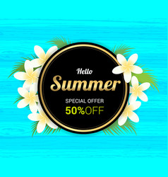Summer greeting season with plumeria flowers vector