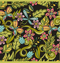 summer seamless pattern leaves butterflies vector image