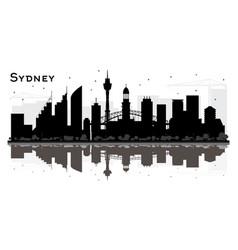Sydney city skyline silhouette with black vector