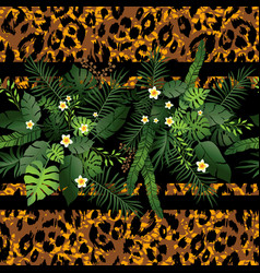 tropical flowers and animal border vector image