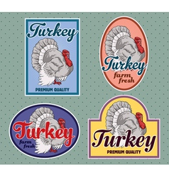 Turkey meat labels set vector image