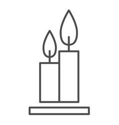 Two burning candles thin line icon flames web vector