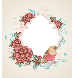 Vintage background with bird vector image