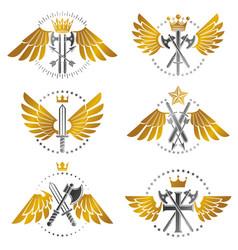 vintage weapon emblems set heraldic coat of arms vector image