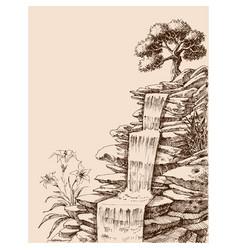 waterfall hand drawing vector image