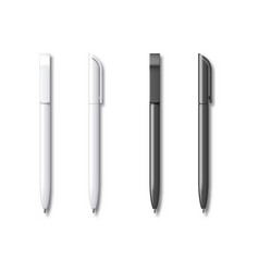 white and black realistic set pen vector image
