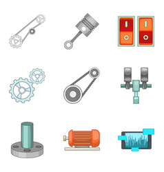 Workbench icons set cartoon style vector