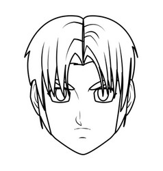 Young guy anime boy character japanese line vector