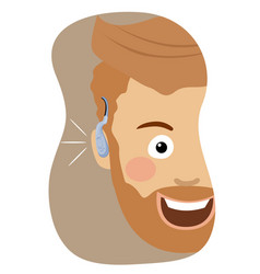 Young hipster man wearing a hearing aid smiling vector