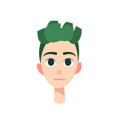 young man with big blue eyes and green hair vector image