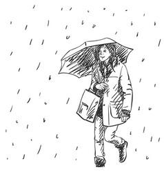 Young woman walking with umbrella under rain vector