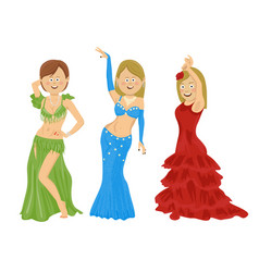 Young women wearing red blue green dresses vector