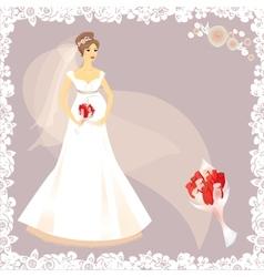 Beautiful pregnant bride silhouette vector image vector image