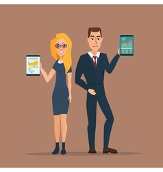 Businessman and business woman holding a tablet vector image