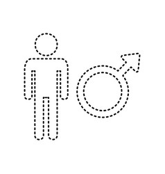 male sign black dashed icon vector image