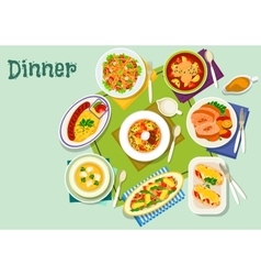 Meat fish dishes for lunch icon for food design vector image vector image
