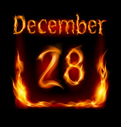 twenty-eighth december in calendar of fire icon vector image vector image