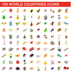 100 world countries icons set isometric 3d style vector image vector image