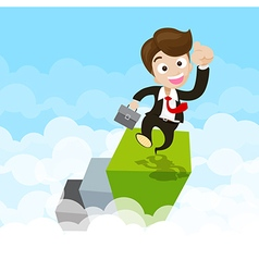 Businessman jumping with joy on green step ovet vector image vector image