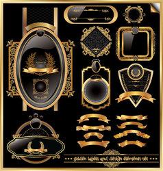 golden labels and design elements set vector image vector image