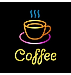 Neon Sign with Coffee Cup on Black Background vector image