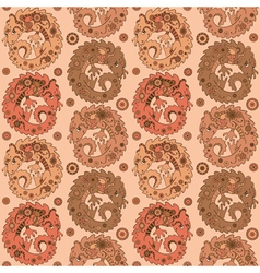 Seamless pattern with cute dragons vector image