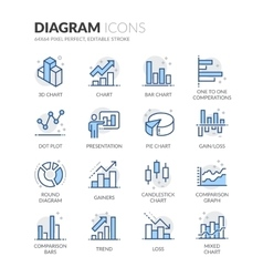 Line Diagram Icons vector image vector image