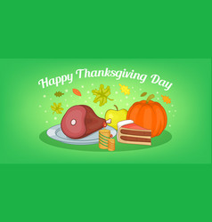 thanksgiving food horizontal banner cartoon style vector image