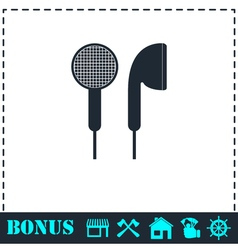 Vacuum headphones icon flat vector image