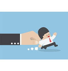 Businessman pulled by large hand vector image vector image