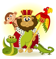 Lion king of animal vector