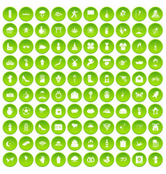 100 flowers icons set green circle vector