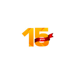 15 years anniversary celebration yellow with red vector