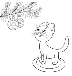 a children coloring bookpage a cartoon cat with a vector image