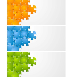 Abstract puzzle banners vector image vector image