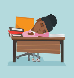 African student sleeping on the desk with books vector