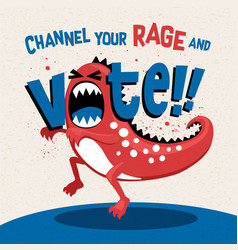 Angry monster in a fit rage promoting voting vector