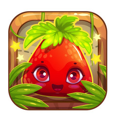App icon with cute berry character vector