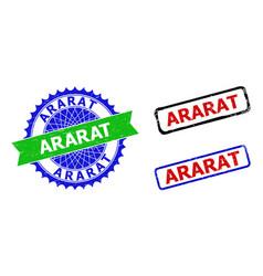 Ararat rosette and rectangle bicolor watermarks vector