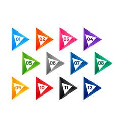 Arrow style number bullet points till twelve vector