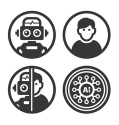 artificial intelligence ai icons set on white vector image